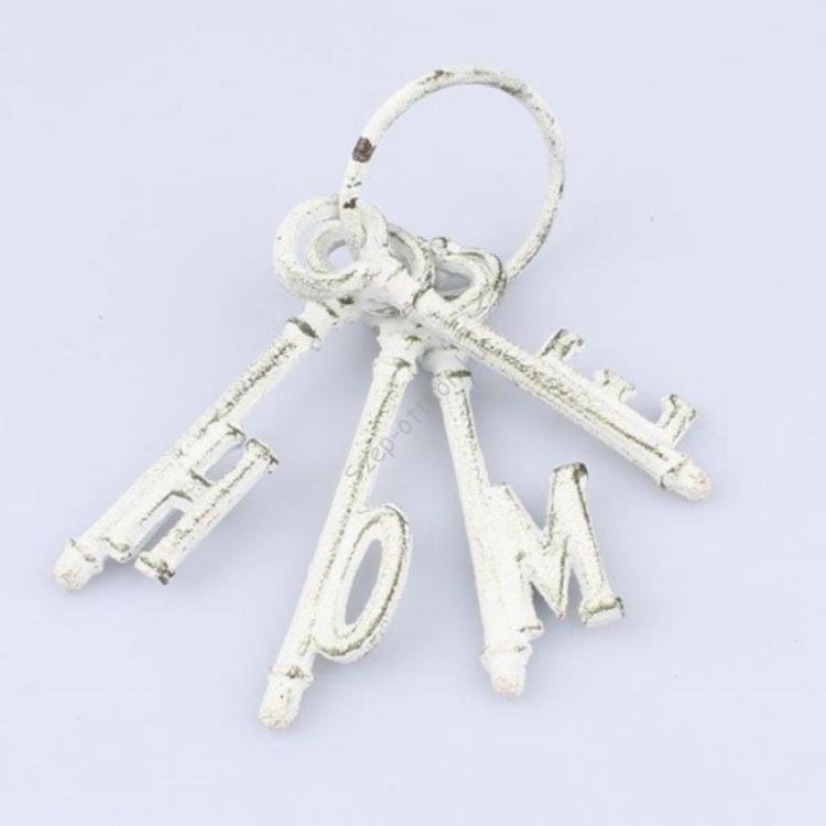 D.LS037 Öntöttvas kulcscsomó HOME, fehér 10x17cm