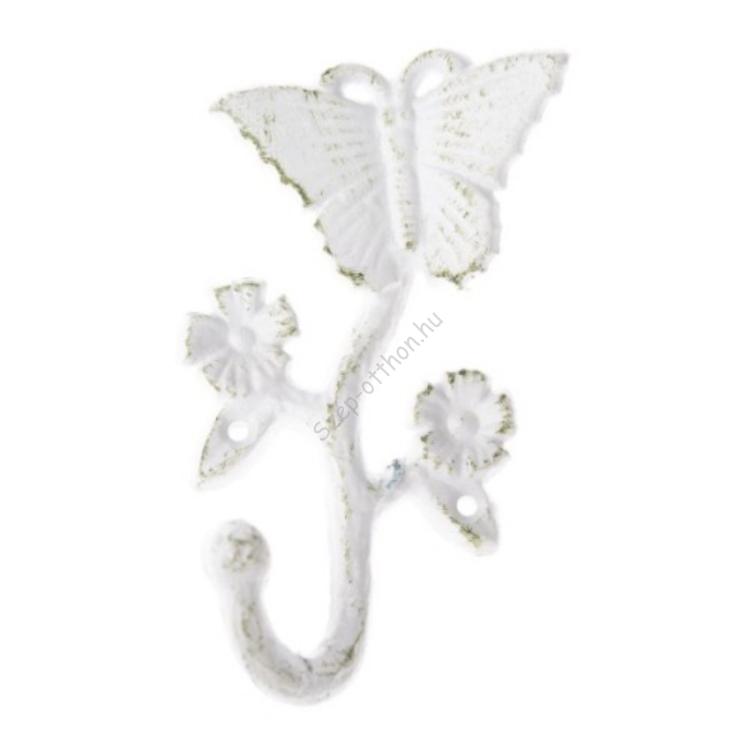 Fehér antikolt öntöttvas fogas, pillangós