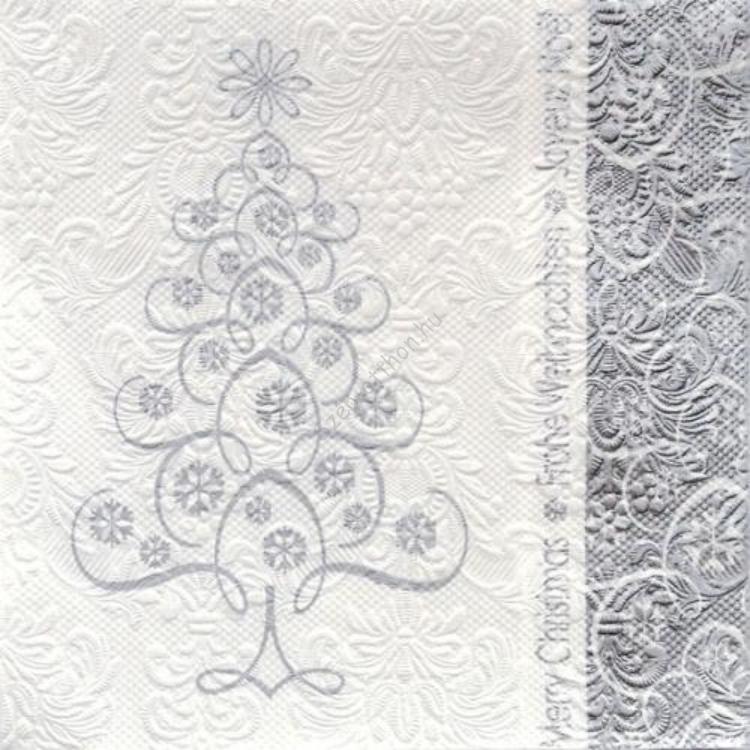 AMB.33304125 Snowcristals Tree silver papírszalvéta 33x33cm,20db-os