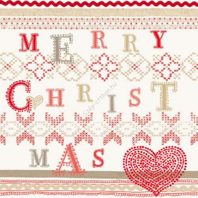 AMB.33304185 Christmas Stitch papírszalvéta 33x33cm,20db-os