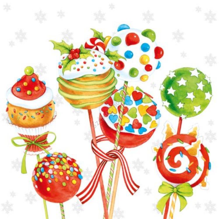 AMB.33304450 Cake Pops papírszalvéta 33x33cm,20db-os