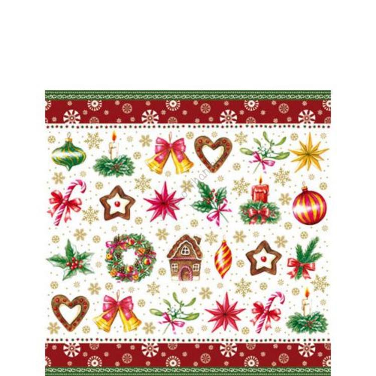 AMB.32504190 Christmas Parts red papírszalvéta 25x25cm,20db-os