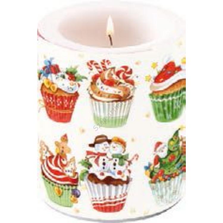 AMB.39103970 Christmas Cupcakes átvilágítós gyertya 10x12cm