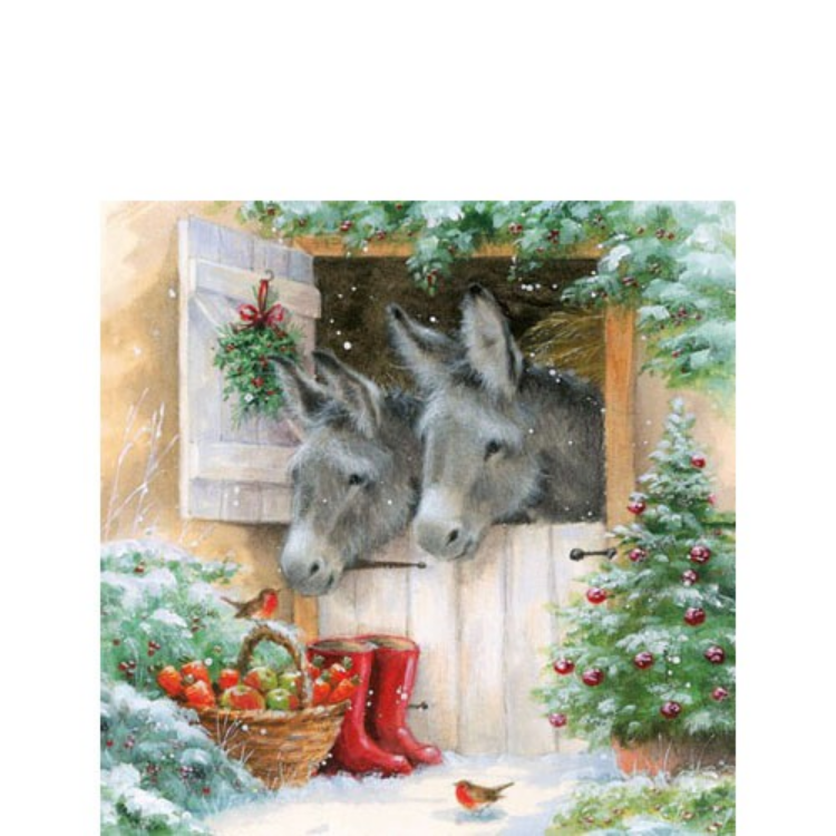AMB.32503990 Santa's Donkeys papírszalvéta 25x25cm,20db-os