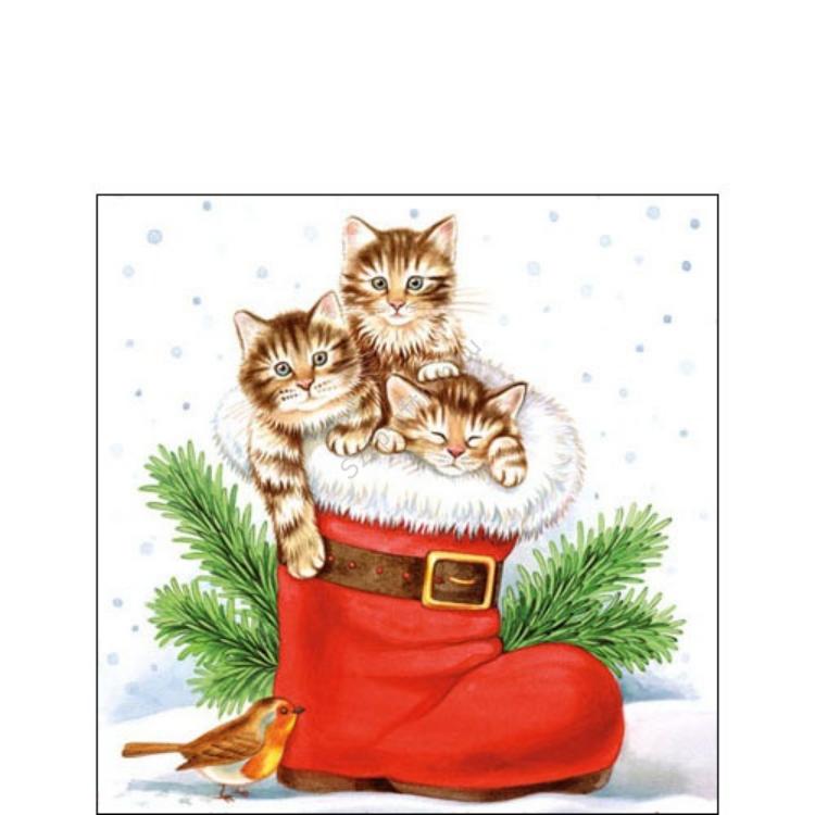 AMB.32504005 Christmas Kitties papírszalvéta 25c-x25cm,20db-os