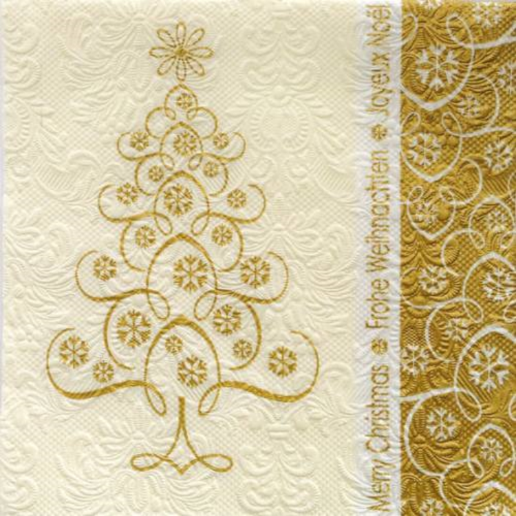 AMB.33304126 Snowcrystals Tree gold papírszalvéta 33x33cm,20db-os