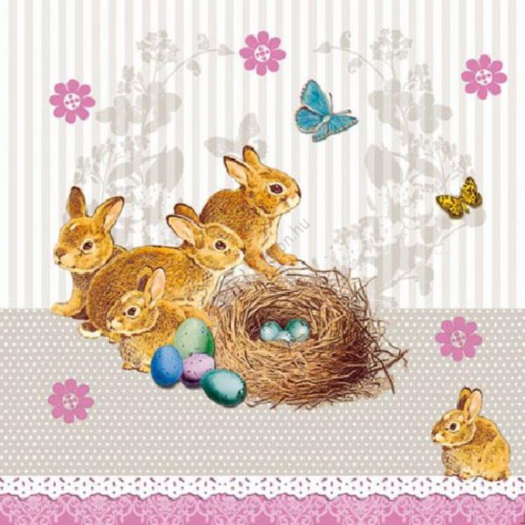 AMB.22501536 Bunnies Nest taupe papírszalvéta 25x25cm,20db-os