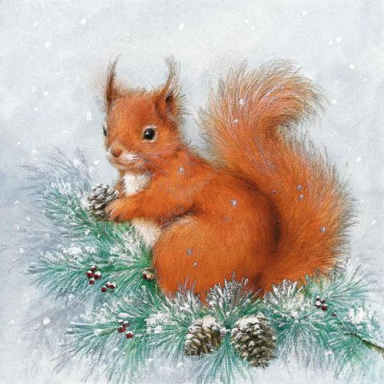 AMB.33304380 Squirrel On Tree papírszalvéta 33x33cm,20db-os