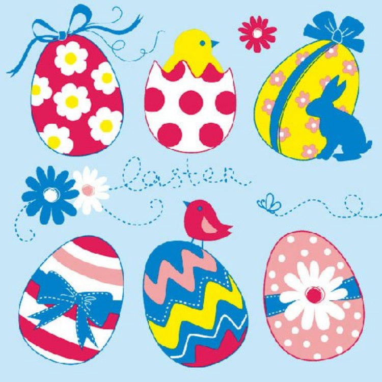 AMB.23301542 Easter Eggs Collection blue papírszalvéta 33x33cm,20db-os