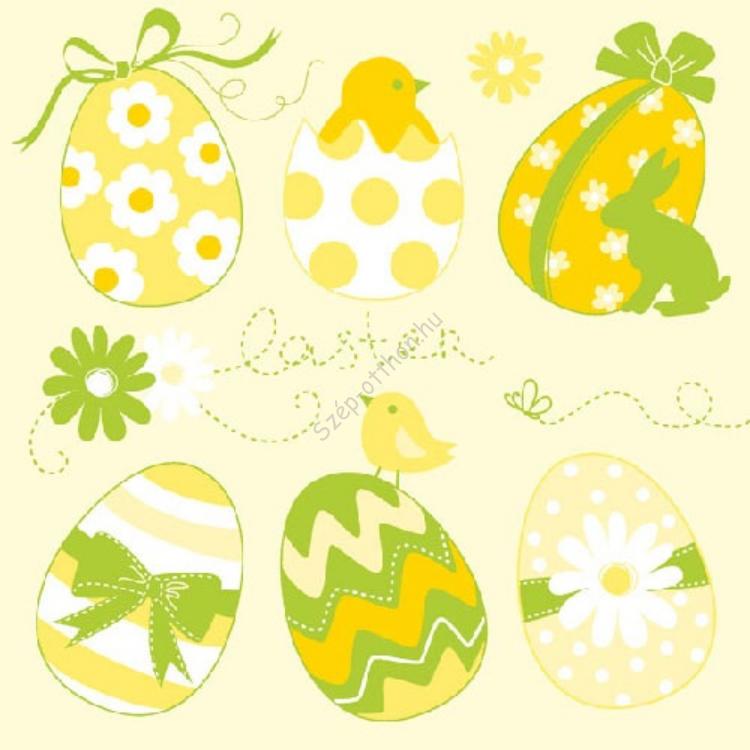 AMB.23301541 Easter Eggs Collection yellow papírszalvéta 33x33cm,20db-os