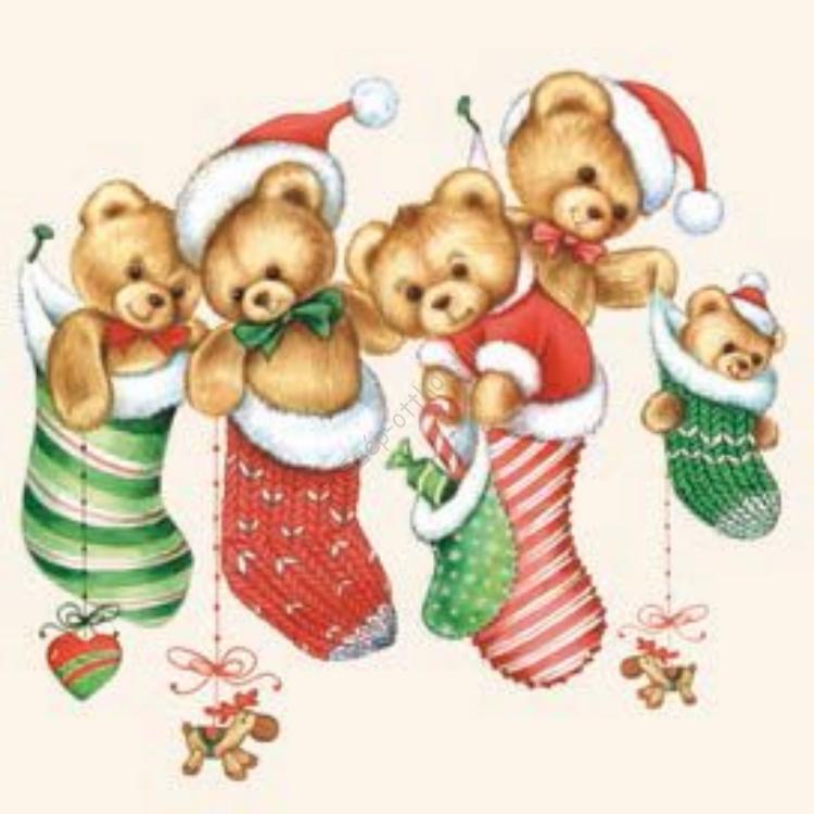 AMB.33303980 Bears Stockings papírszalvéta 33x33cm,20db-os