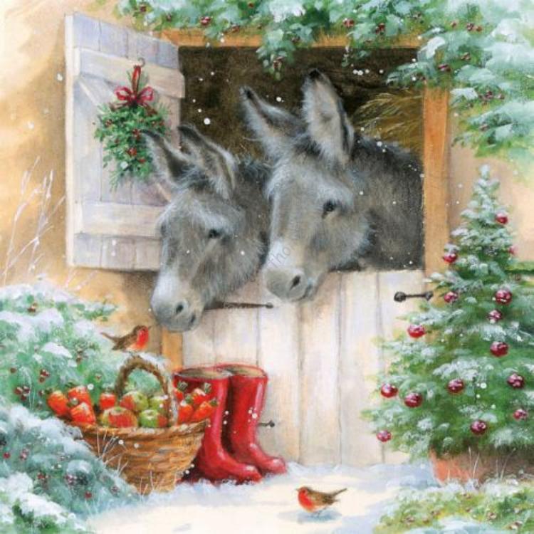 AMB.33303990 Santas' Donkeys papírszalvéta 33x33cm,20db-os