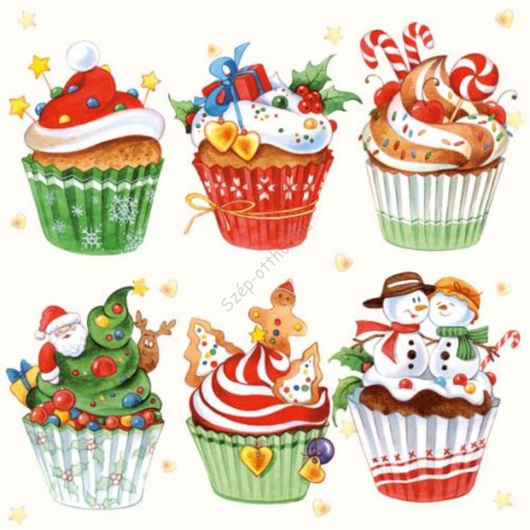 AMB.33303970 Christmas Cupcakes papírszalvéta 33x33cm,20db-os