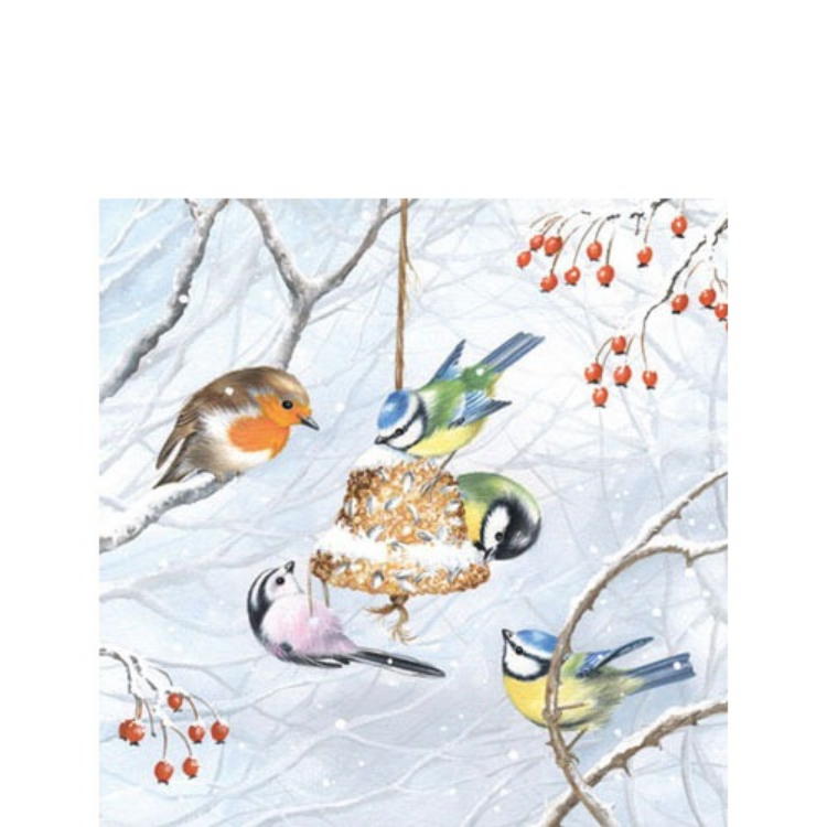 AMB.32504545 Winterbirds papírszalvéta 25x25cm,20db-os