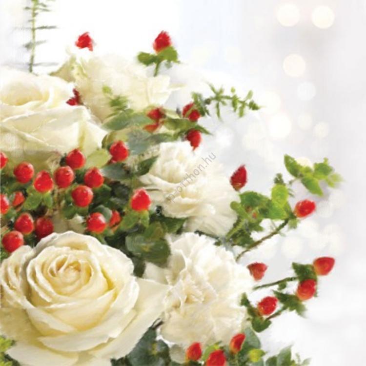 AMB.33304905 Christmas Roses papírszalvéta 33x33cm,20db-os