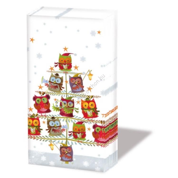 AMB.32205055 Christmas Tree with Owls papírzsebkendő,10db-os