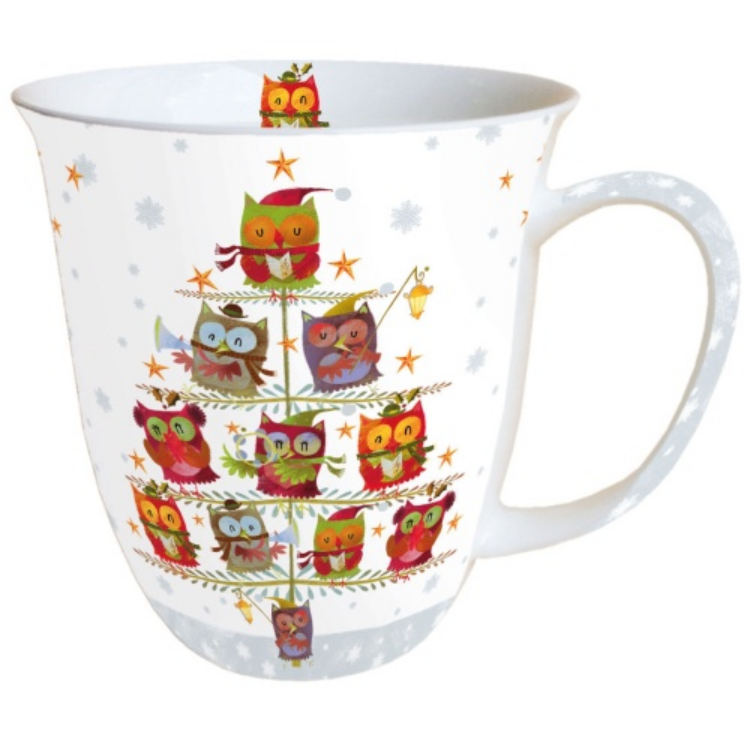 AMB.38405055 Christmas Tree with Owls porcelán bögre 0,4l