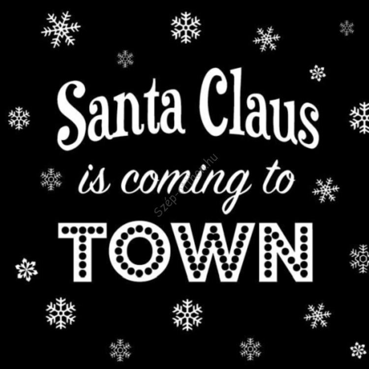 AMB.33304889 Santa is Coming Black papírszalvéta 33x33cm,20db-os