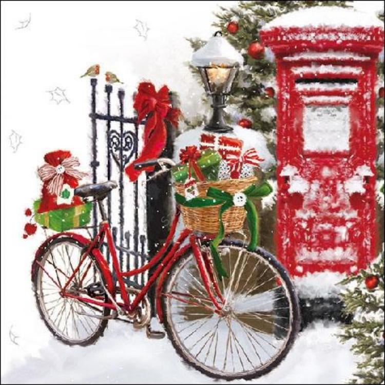 AMB.33310520 Bike In Snow Papírszalvéta 33x33cm,20db-os