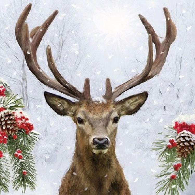 AMB.33310640 Deer In Winter papírszalvéta 33x33cm,20db-os