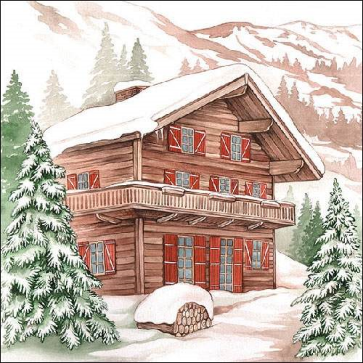 AMB.33310615 Winter Chalet Papírszalvéta 33x33cm,20db-os