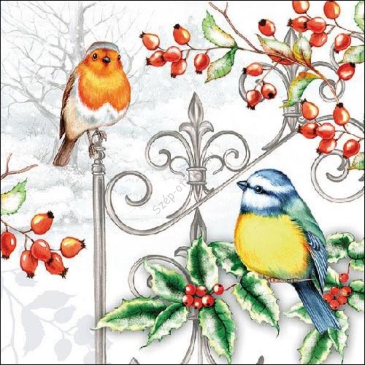 AMB.33310535 Birds & Holly Papírszalvéta 33x33cm,20db-os