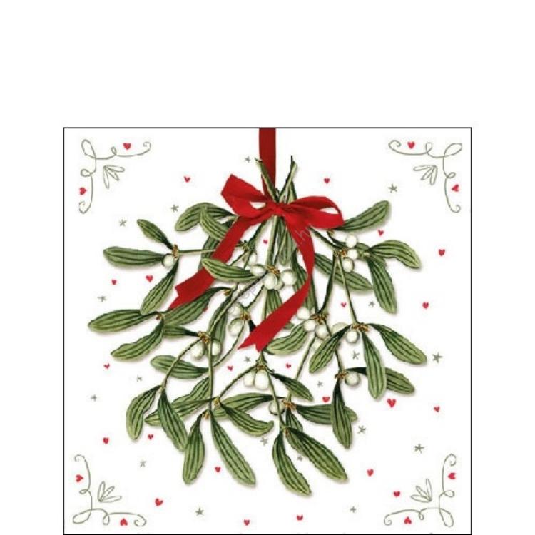 AMB.32510575 Mistletoe papírszalvéta 25x25cm,20db-os