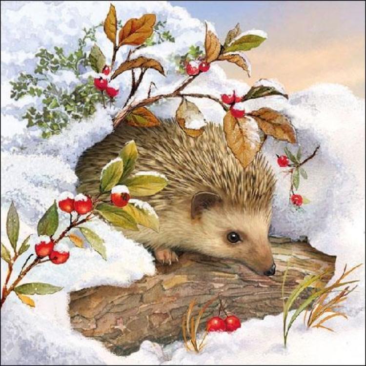 AMB.32510515 Hedgehog In Snow Papírszalvéta 25x25cm,20db-os