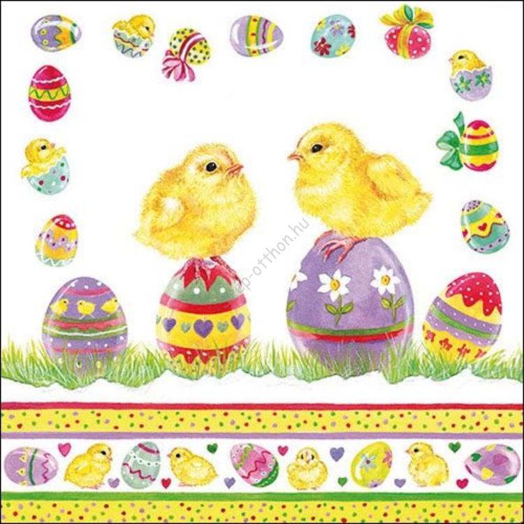 AMB.23311700 Chicksn on Eggs papírszalvéta,33x33cm