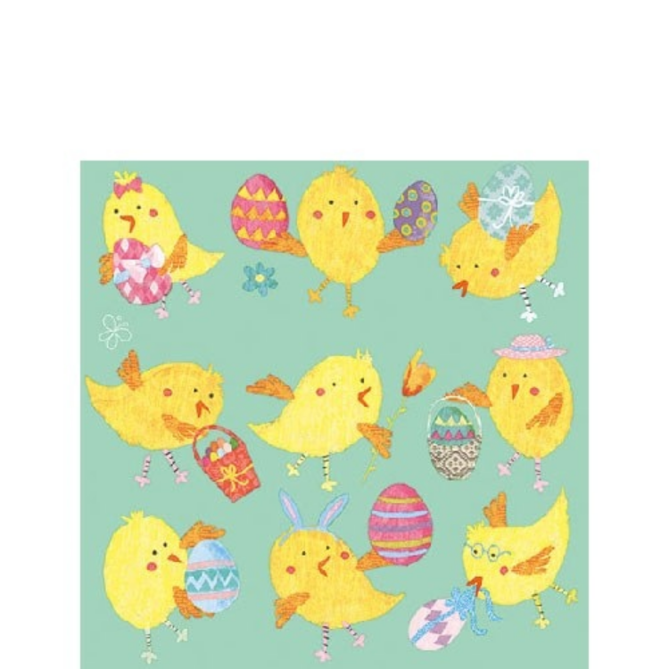 AMB.22512786 Easter Chicks Mint papírszalvéta 25x25cm,20db-os