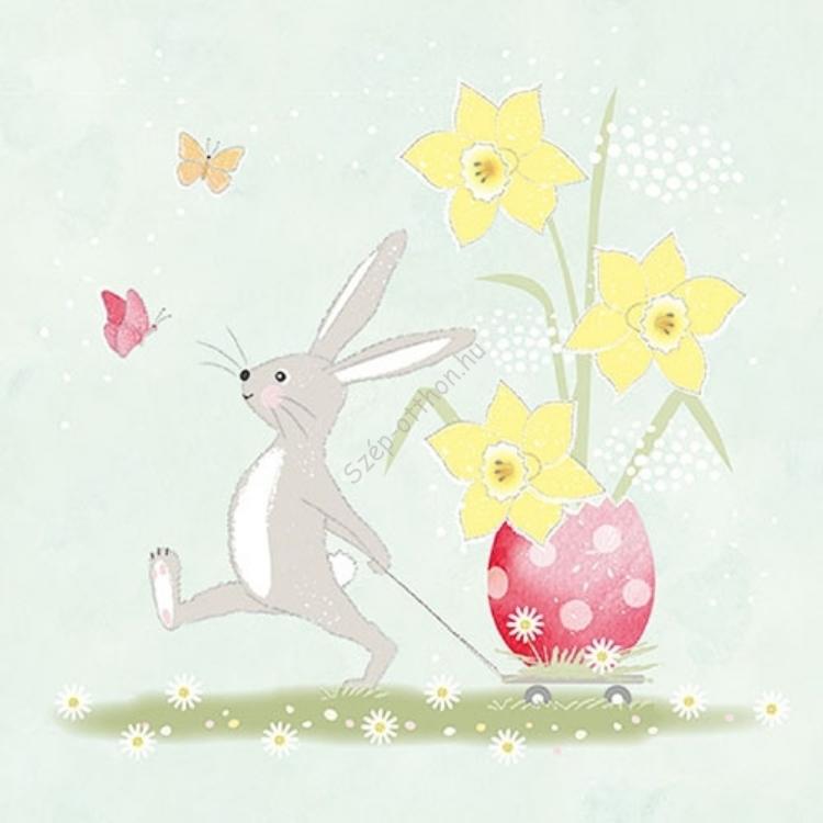 AMB.23314145 Walking Easter Bunny papírszalvéta 33x33cm, 20db-os