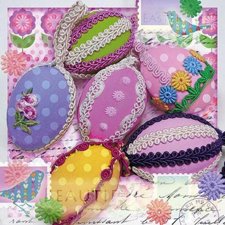 AMB.23314130 Eggs With Ribbon papírszalvéta 33x33cm, 20db-os