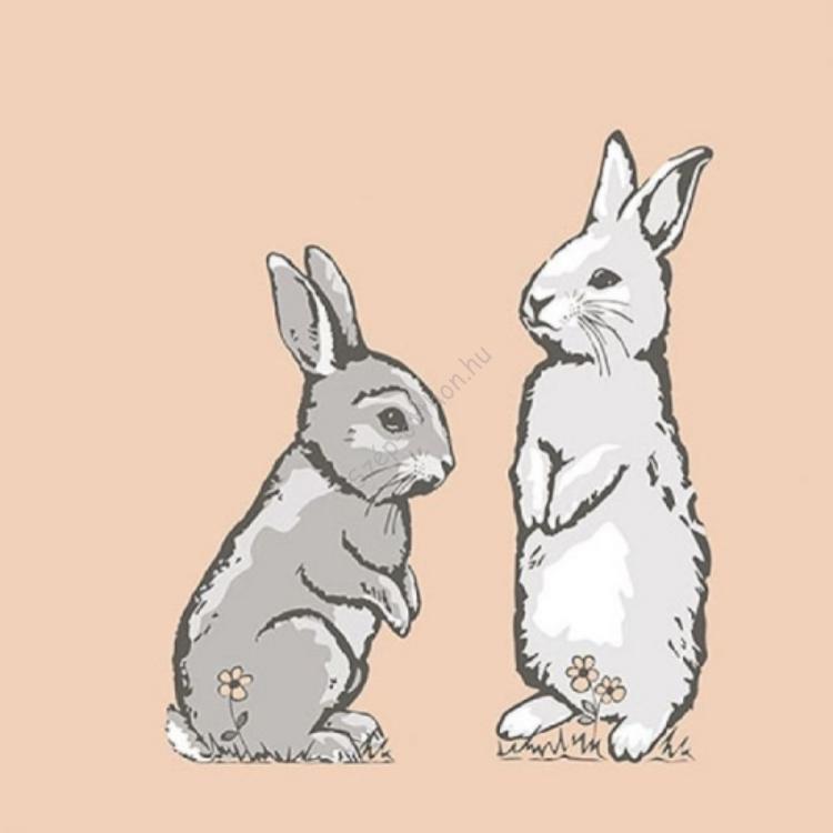 AMB.23314365 Two Rabbits Coral papírszalvéta 33x33cm, 20db-os