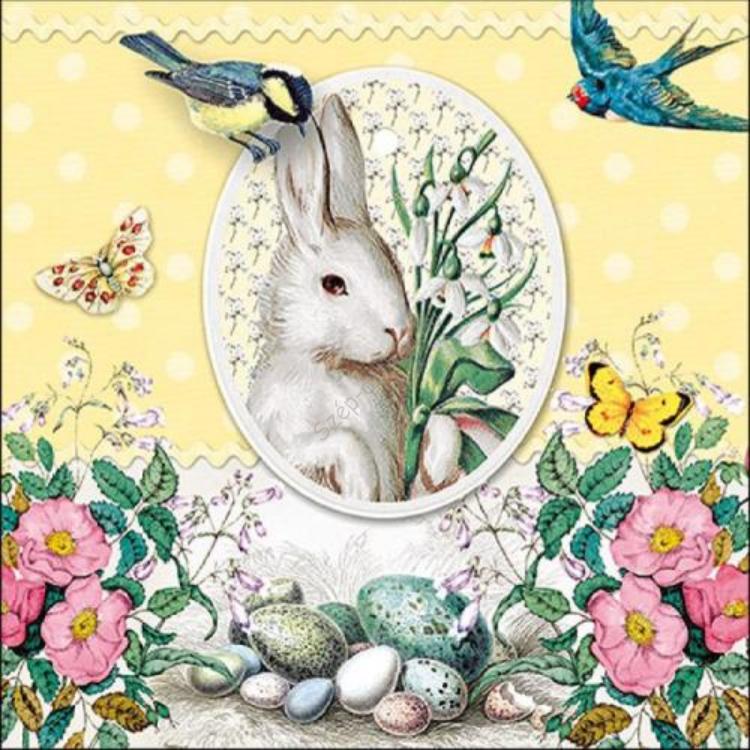 AMB.23314893 White Rabbit Yellow papírszalvéta 33x33cm,20db-os