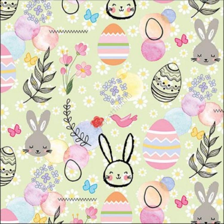 AMB.23314887 Happy Easter Green papírszalvéta 33x33cm, 20db-os