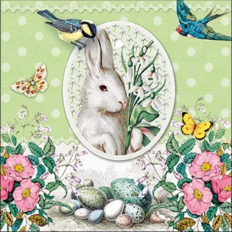 AMB.23314891 White Rabbit Green papírszalvéta 33x33cm, 20db-os