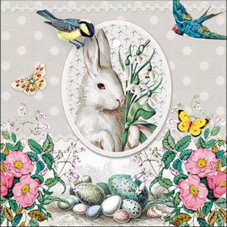 AMB.23314892 White Rabbit Grey papírszalvéta 33x33cm, 20db-os