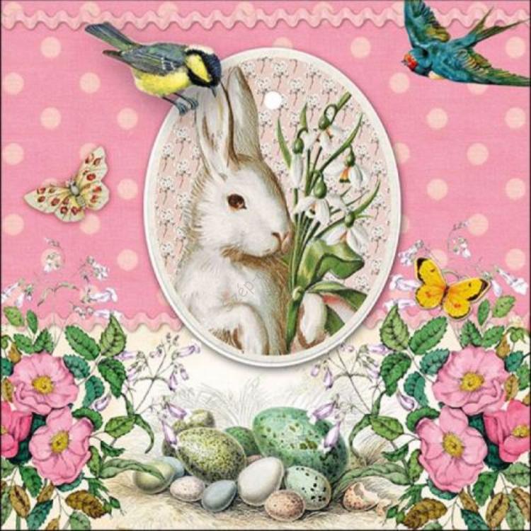 AMB.23314890 White Rabbit Rose papírszalvéta 33x33cm, 20db-os