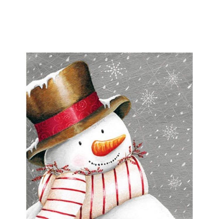 AMB.32503630 Smiling Snowman papírszalvéta 25x25cm,20db-os