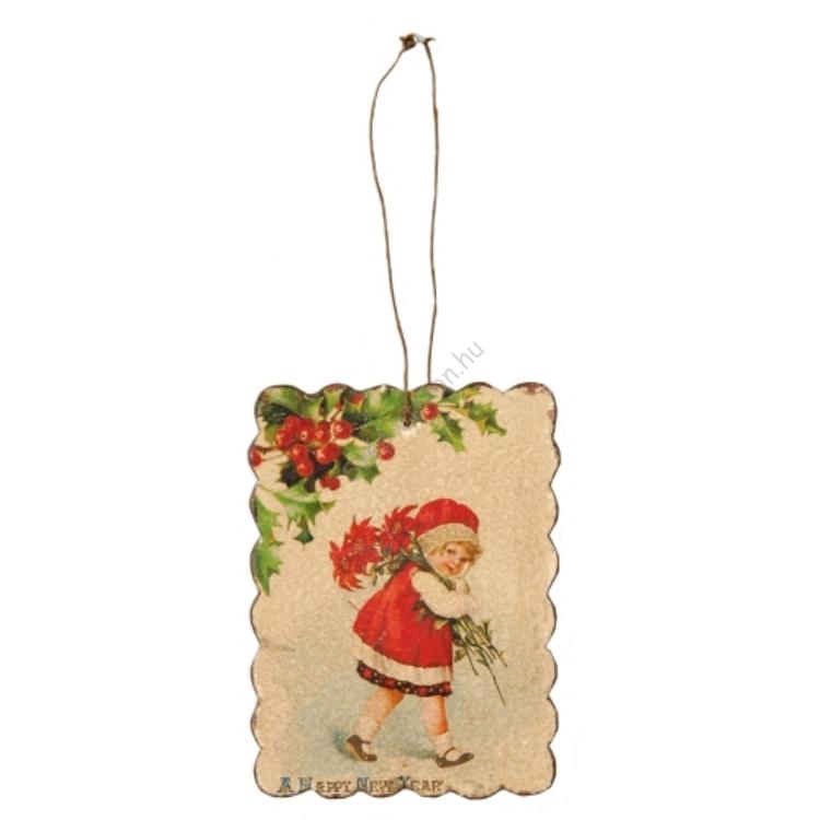 Clayre & Eef BBL125 Fém kép,8x11cm,piros ruhás kislány
