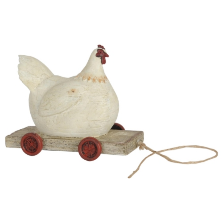 Clayre & Eef 6PR0032 Nosztalgia dekor csirke 14x6x11cm,fehér