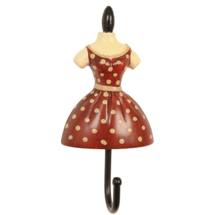Clayre & Eef 60525 Fogas 10,5x5x3cm női ruhás,piros-krém pöttyös