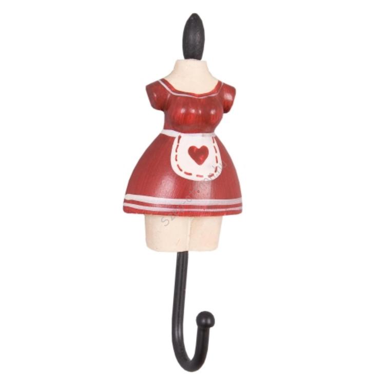 Clayre & Eef 60742R Fogas 4x3x11cm női ruhás,piros-fehér kötényes