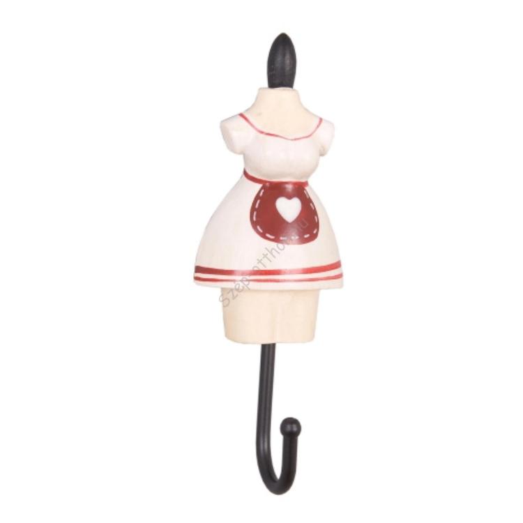 Clayre & Eef 60742N Fogas 4x3x11cm női ruhás,fehér-piros kötényes
