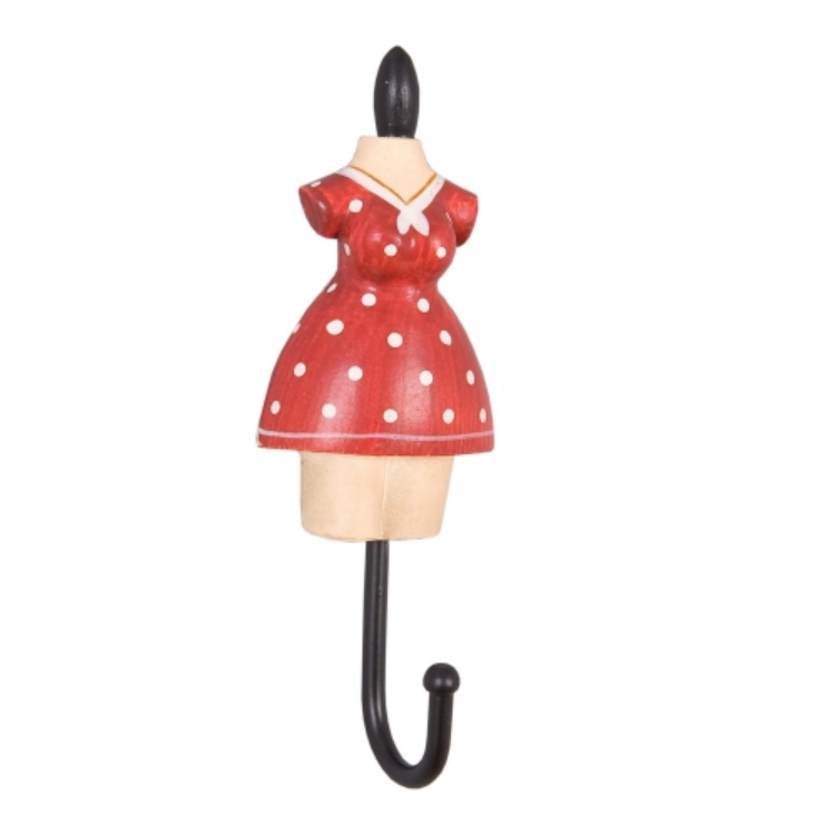 Clayre & Eef 60743R Fogas 11x4x3cm női ruhás,piros-fehér pöttyös