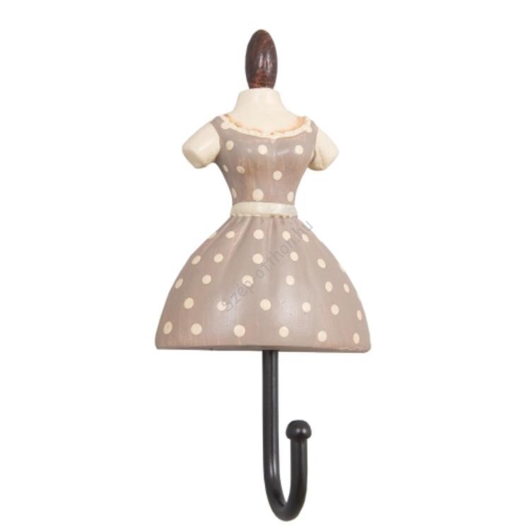 Clayre & Eef 61030 Fogas 10,5x5x3cm női ruhás,taupe-krém pöttyös