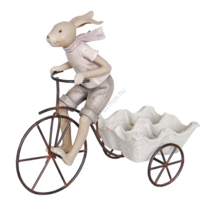 Clayre & Eef 6PR0312 Nosztalgikus dekor figura, müanyag, 26x11x24cm,biciklis nyuszi tojástartóval