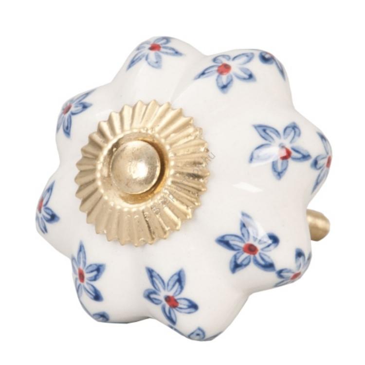 Clayre & Eef 61846 Ajtófogantyú 4,5cm, bordázott, krém, kék virágokkal, arany rátéttel
