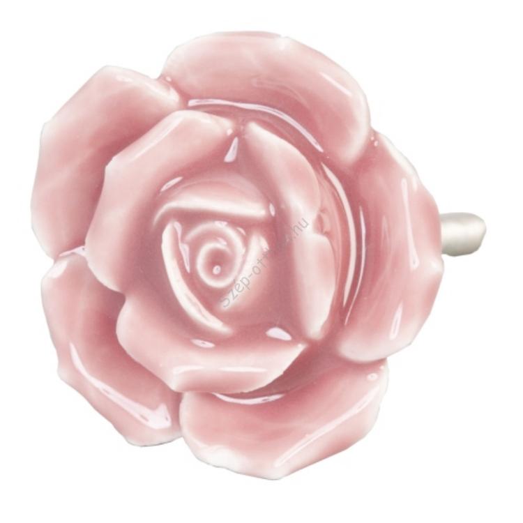 Clayre & Eef 61871 Ajtófogantyú 4,5cm,sötétrózsaszín rózsa