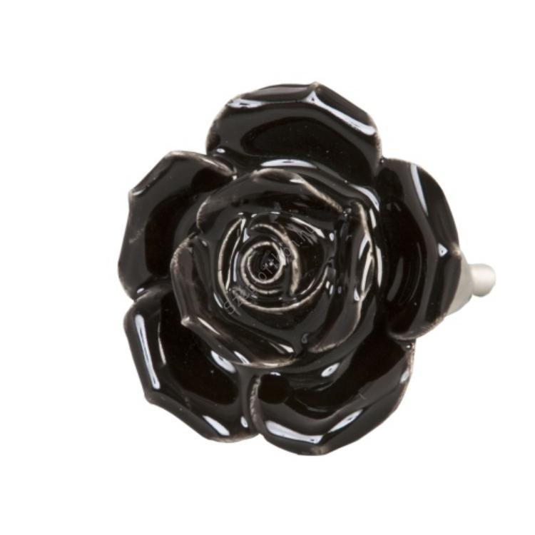 Clayre & Eef 61873 Ajtófogantyú 4,5cm, fekete rózsa